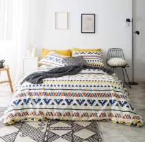 YuHeGuoJi 3 Pieces Duvet Cover Set 100% Cotton King Size Boho Aztec Bedding Set 1 Triangle Geometric Striped Print Duvet Cover with Zipper Ties 2 Pillowcases Hotel Quality Soft Lightweight Breathable