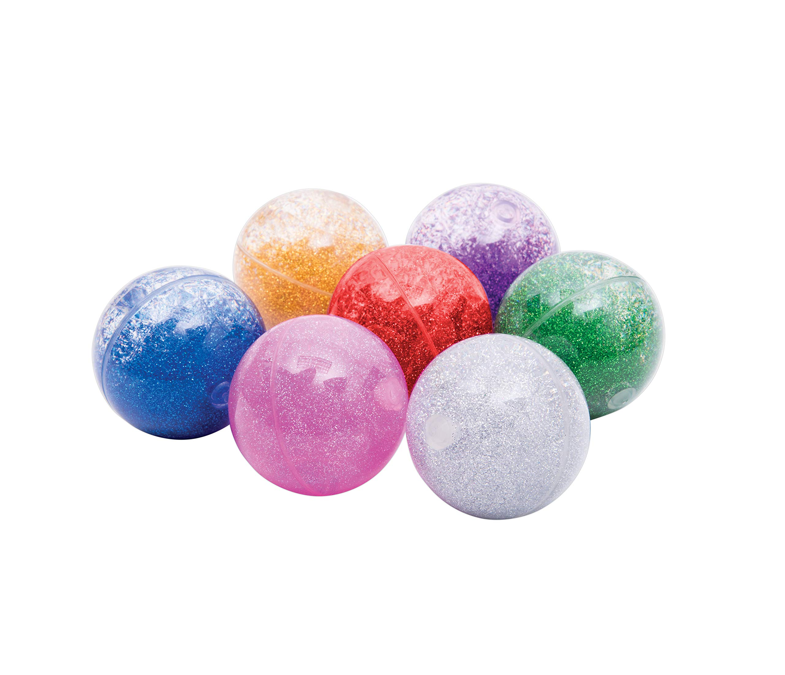 """TickiT Sensory Rainbow Glitter Balls - Set of 7-2.6"""" Diameter - Water and Glitter-Filled Bouncy Balls - Assorted Colors - Sensory Play for Toddlers and Kids"""