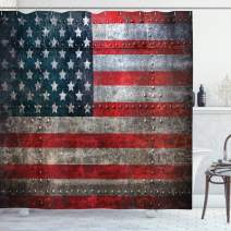 """Ambesonne American Flag Shower Curtain, Royalty Flag Textured US Backdrop on Damaged Board Plate Design Artwork Print, Cloth Fabric Bathroom Decor Set with Hooks, 75"""" Long, Red Grey"""