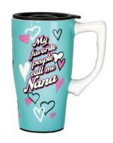 Spoontiques Nana Ceramic Travel Mug, 18 ounces, Teal