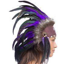 Unique Feather Headdress- Native American Indian Inspired- Handmade by Artisan Halloween Costume for Men Women with Real Feathers - Purple with Beads