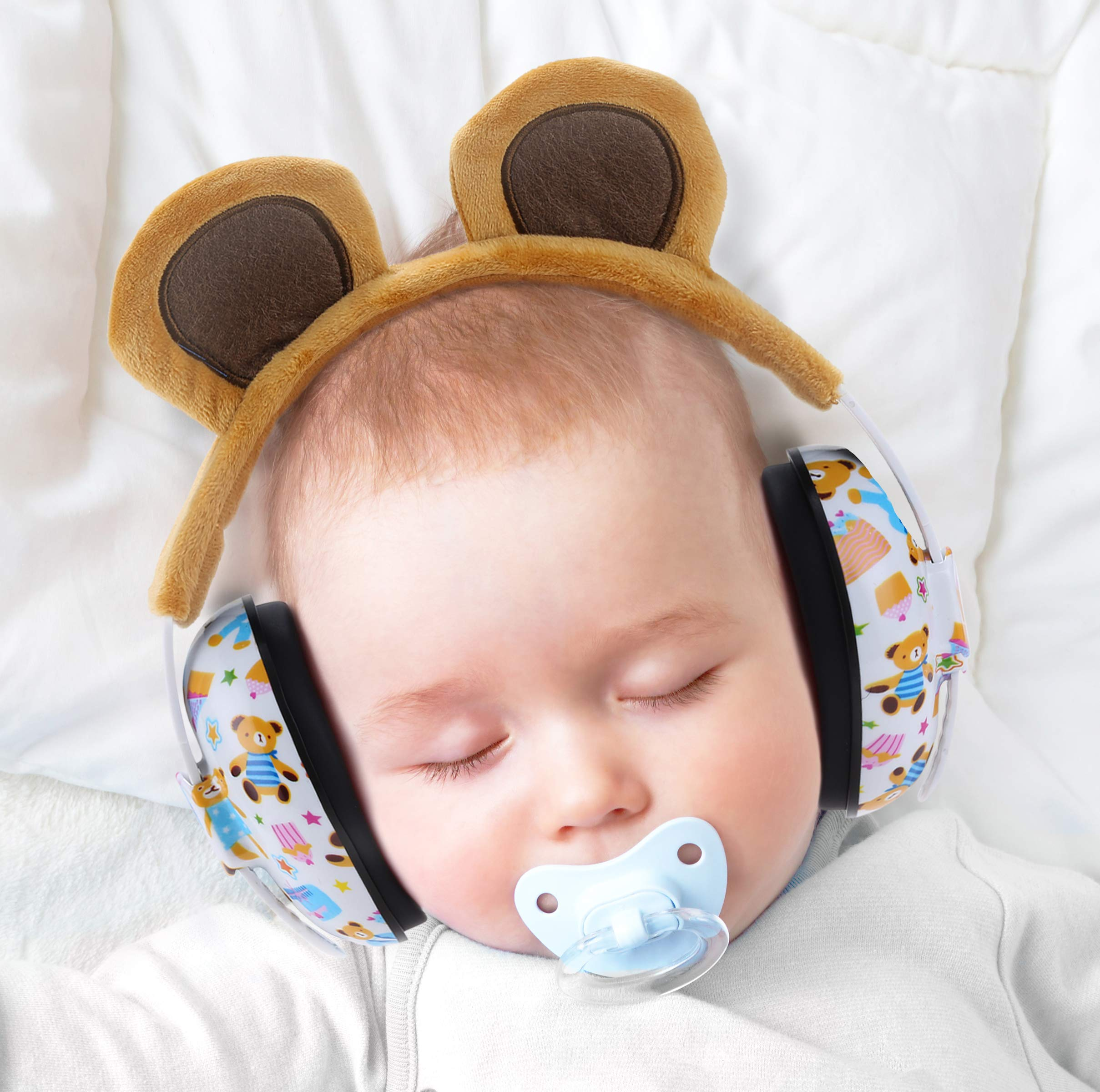 Baby Ear Protection Ear Muffs for 3 Months to 2+ Years Noise Reduction Hearing Protection for Infant and Toddlers with Bear Ear. (Brown)