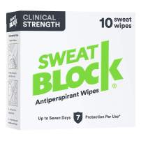 SweatBlock Clinical Strength Antiperspirant Wipes- Treat Hyperhidrosis & Excessive Sweating - Up to 7 Days Protection Per Wipe - 10 count - Unisex