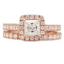 1.70 CT Princess Brilliant Cut Designer Solitaire Pave Halo Statement Classic Solitaire Anniversary Engagement Wedding Bridal Promise Ring Band set Solid 14k Rose Gold
