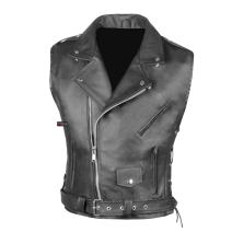 Men's Classic Leather Motorcycle Biker Concealed Carry Side Laces Vest Black XXL
