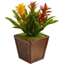 Nearly Natural Triple Bromeliad Artificial Plant in Planter, Multi