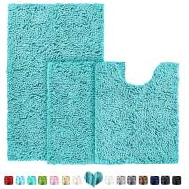 BYSURE Spa Blue Bathroom Rug Sets 3 Pieces Non Slip Extra Absorbent Shaggy Chenille Bathroom Mats and Rugs Sets, Soft & Dry Bath Rug/Mat Sets for Bathroom Washable Carpets Set