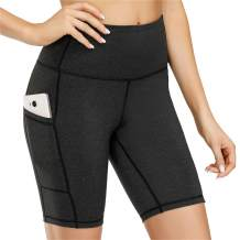 "Kyopp Women's 8"" /5"" High Waist Yoga Short Tummy Control Workout Running Athletic Exercise Shorts Side Pockets"