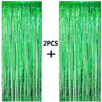 ONUPGO 2 Pack 3.28 ft x 9.8 ft Green Foil Curtains Metallic Tinsel Fringe Curtain Photo Booth Props Backdrop Curtain Perfect for Birthday Wedding Baby Shower Christmas Holiday Party Decorations