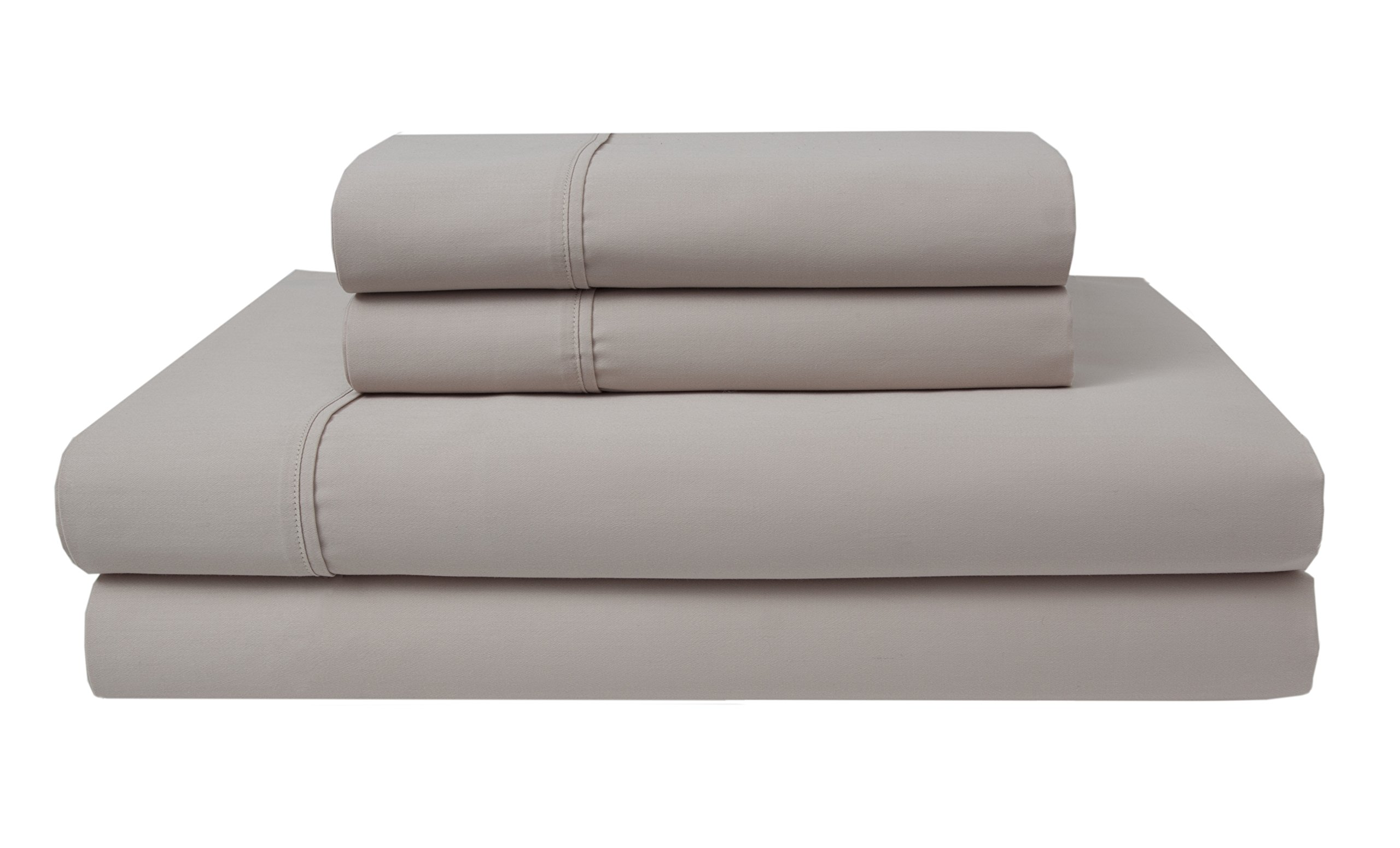 Elite Home Products 300 Thread Count Organic Cotton Deep-Pocketed Sheet Set, Queen, Oat