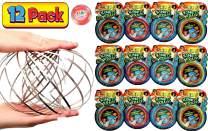 JA-RU Kinetic Flow Ring Sensory Toys Stainless Steel Stress Relief Toys (Pack of 12) Sensory Rings Metal Slinky Fidget Bracelet Arm Slinky Spiral Bracelet Party Favor | Item #785-12p