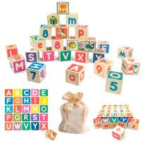 Quokka Wooden ABC Letters Block Puzzles for Toddlers 1 2 3 4 Years Old, 26 Wood Blocks with Alphabet Number Animals Puzzle Games for Toddler, Montessori Learning Toys for Boys & Girls in a Storage Bag