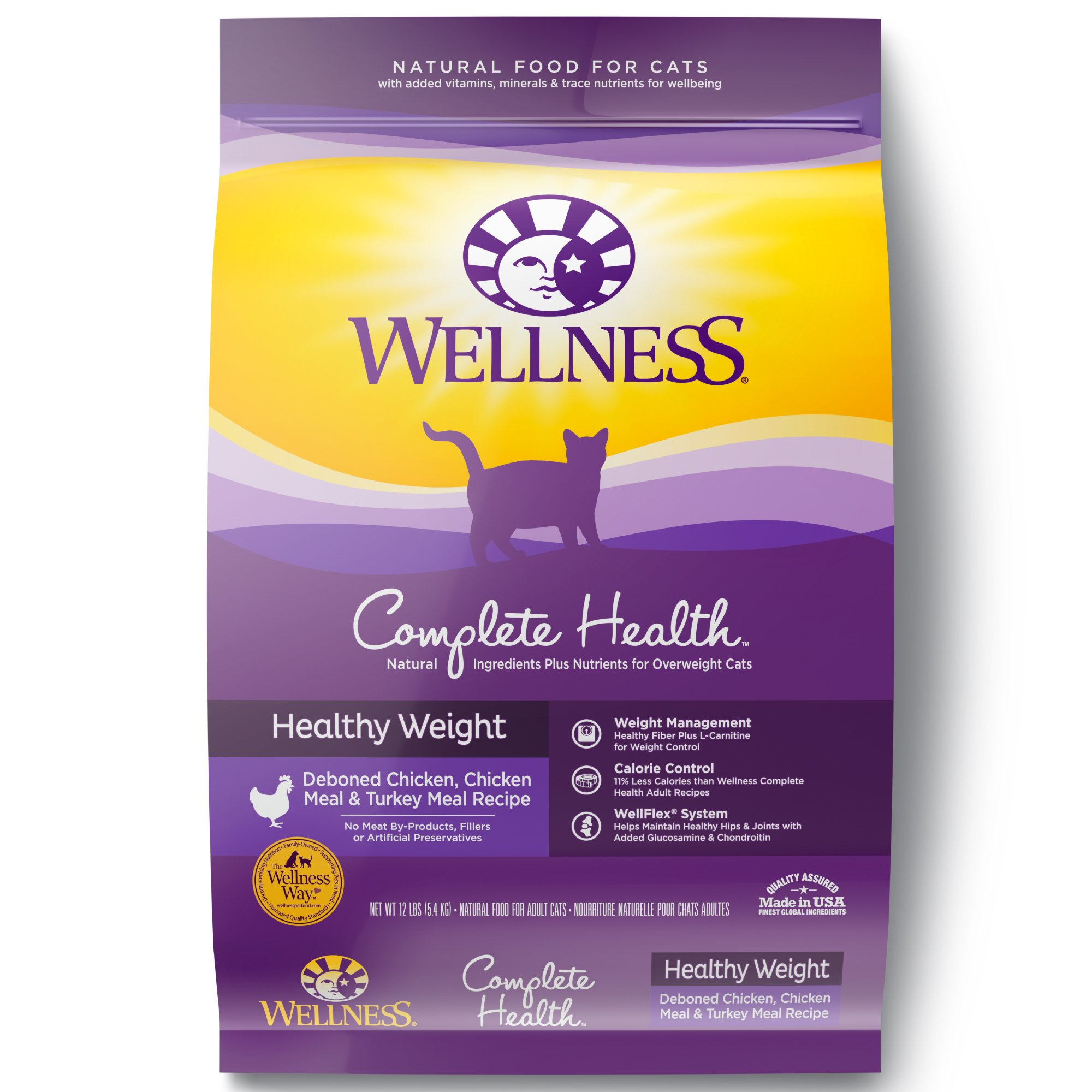 Wellness Complete Health Natural Dry Healthy Weight Cat Food, Chicken & Whitefish, 11.5-Pound Bag