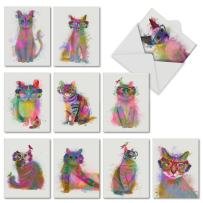 Funky Rainbow Cats - Box of 10 Assorted Blank Note Cards with Envelopes (4 x 5.12 Inch) - Cute Pet Kitten Animal Cards - Watercolor Painted Greetings, Stationery for All Occasions AM6199OCB-B1x10