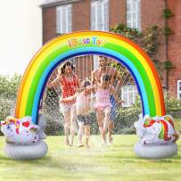 iBaseToy Inflatable Rainbow Sprinkler for Kids, 7.3 x 6.1 Ft, GiantWater Sprinkler Toy for Toddlers, Fun Summer Outdoor Water Game Toys for Boys Girls Adults for Yard Lawn Backyard Birthday Party