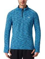 NAVISKIN Men's 1/4 Zip Pullover Thermal Thumbholes Running Long Sleeve Shirts Workout Outdoor Tops