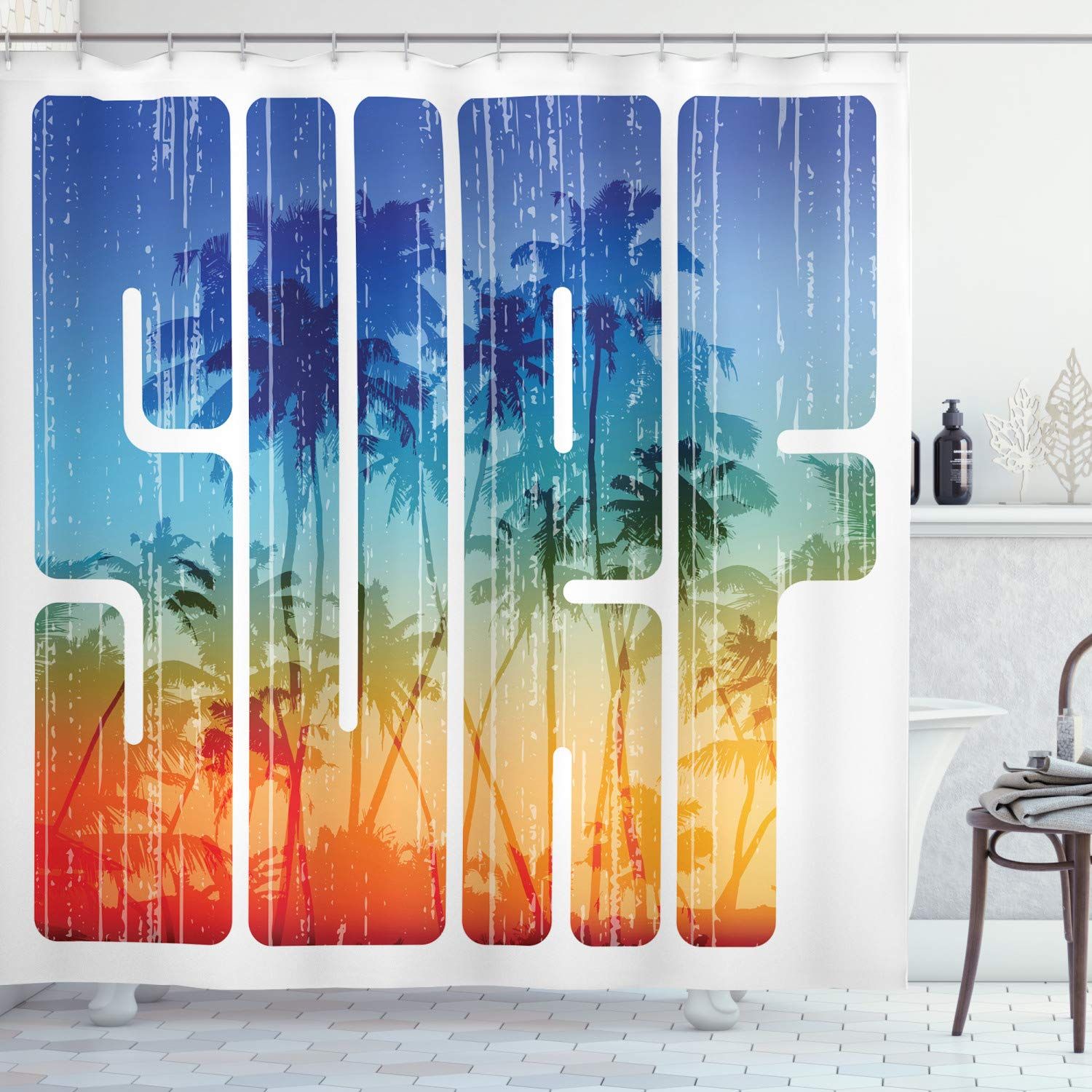 """Ambesonne Surf Shower Curtain, Summer Surf Retro Letters That Reflect The Seacoast with Palm Tree Extreme Sports Art, Cloth Fabric Bathroom Decor Set with Hooks, 75"""" Long, Navy Orange"""