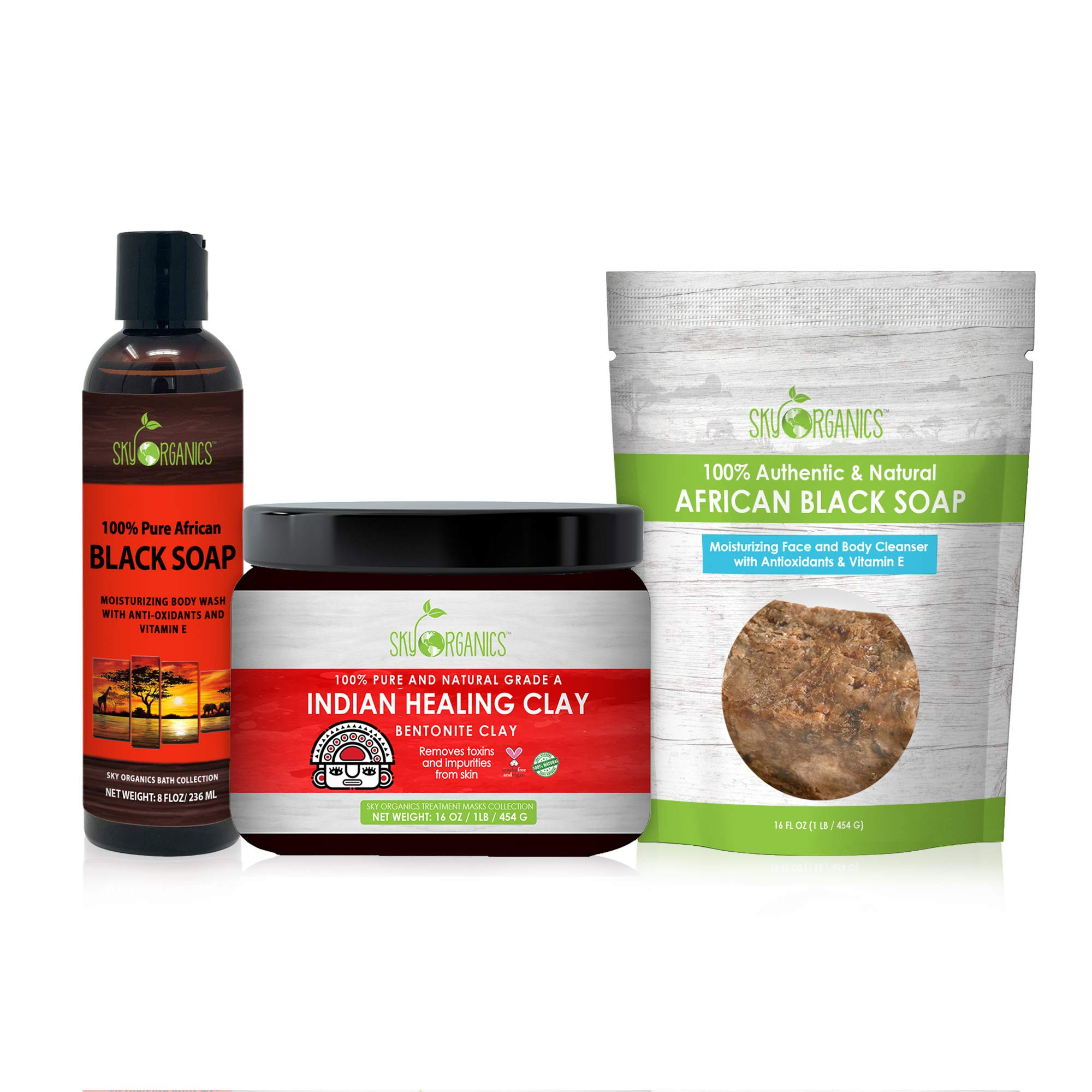 Sky Organics Clarify + Cleanse Set: Indian Healing Clay Mask, African Black Soap Body Wash, and Raw African Black Soap Bar, 1 ea