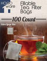 Fillable Tea Bag Filters for Loose Tea, 100 Count (Extra Large 8x10 cm, White)