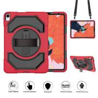 GROLEOA iPad Pro 11 Case, Heavy Duty Shockproof Rugged Case with Hand Shoulder Strap, 360 Degree Swivel Kickstand 3 in 1 Tablet Case for iPad Pro 11 inch 2018 Release (Black+Red)