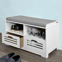 Haotian Faux Leather Storage Ottoman,Folding Storage Bench with Seat Cushion (V-FSR36-K-W)