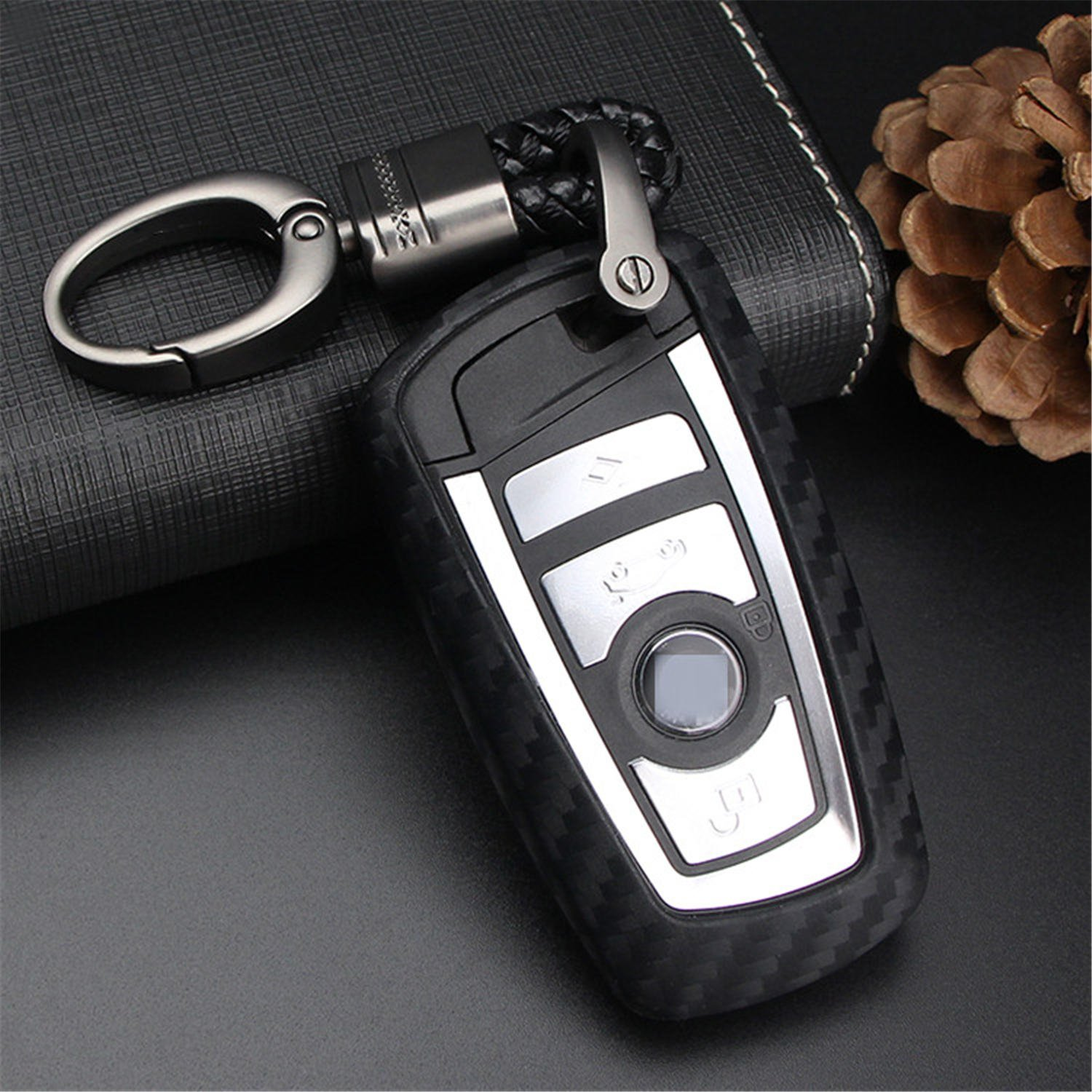 M.JVisun Soft Silicone Rubber Carbon Fiber Texture Cover Protector for BMW Key Fob, Car Remote Key Fob Case for BMW 1-Series 2 3 4 5 6 7 Series X3 X4 M2 M3 M4 M5 M6 - Black - Weave Keychain