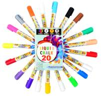 20 Pcs Liquid Chalk Markers Pack - 14 liquid chalk color - 4 liquid chalk white - 1 Gold - 1 Silver - Non Toxic - Liquid Chalk Pens