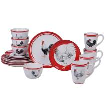Certified International 87529 Homestead Rooster 16 pc Dinnerware Set, Service for 4