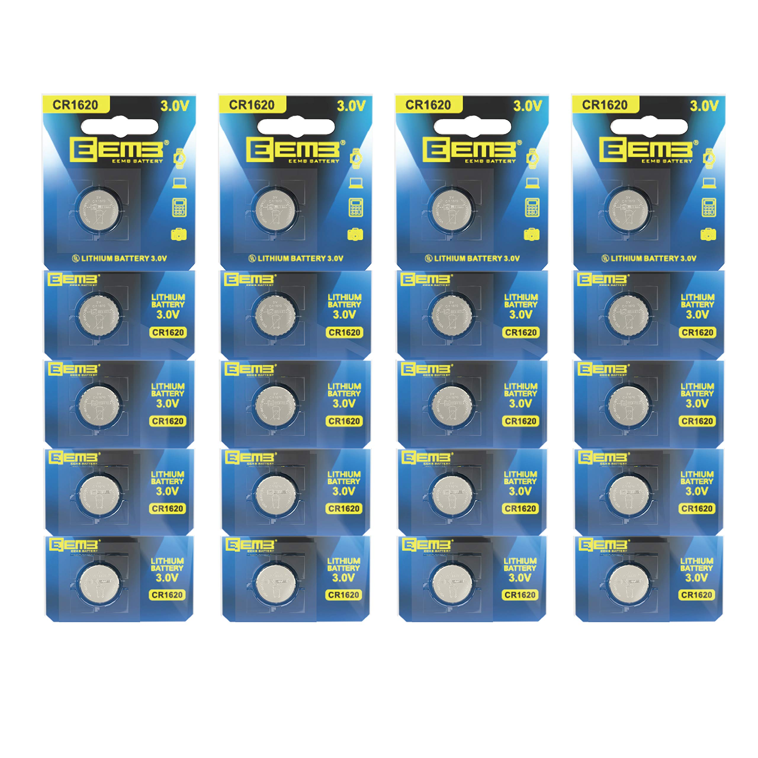 EEMB CR1620 3 V 70 mAh Battery Button Coin Cell Lithium Battery Battery Perfect UL Certified for Watches, Car Remote Key, Alarm Clock Toys (20packs)