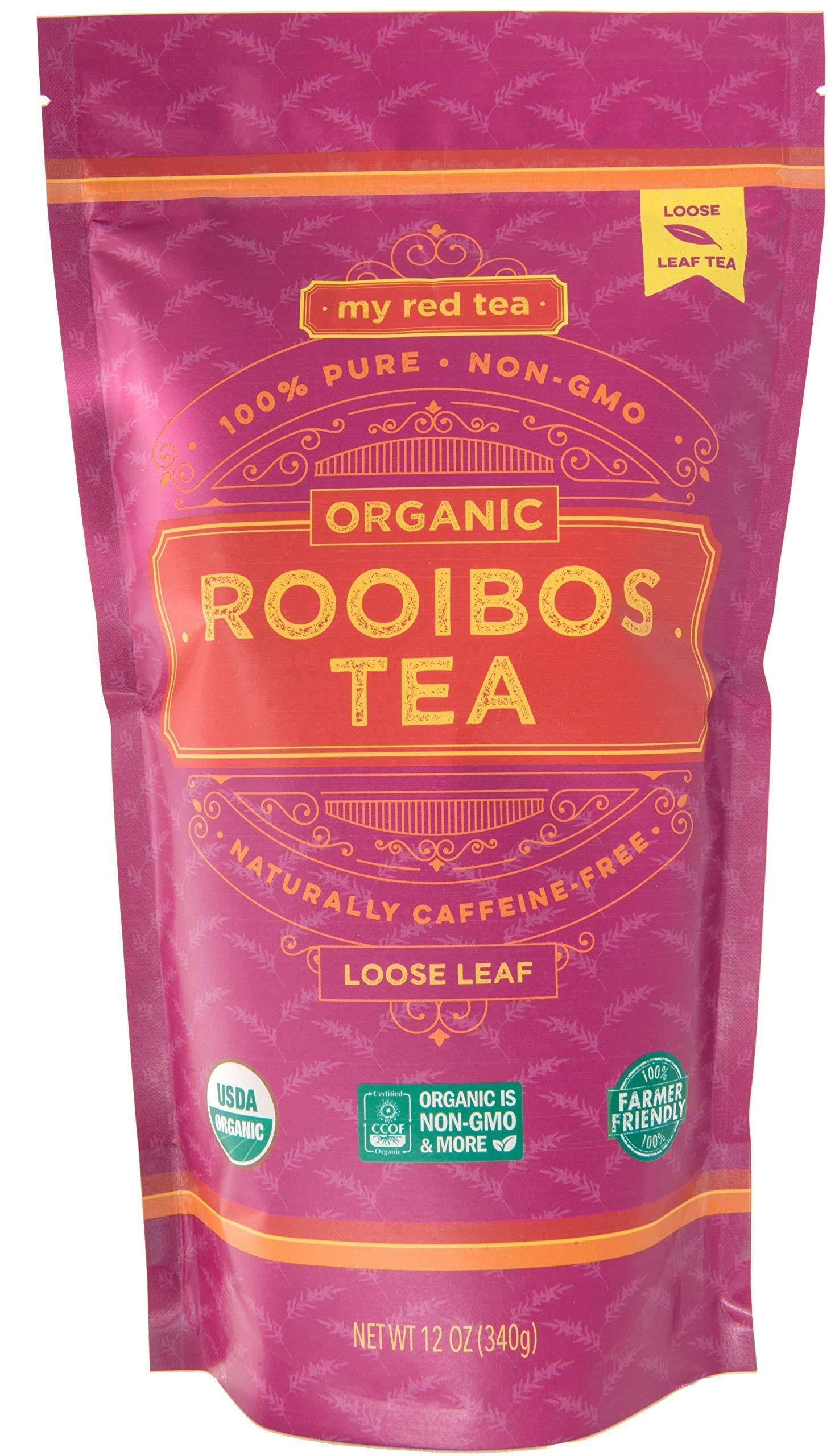 Rooibos Tea, USDA Certified Organic Tea, MY RED TEA. Loose Tea. South African, 100% Pure, Single Origin, Natural, Farmer Friendly, GMO and Caffeine Free (12oz Loose)