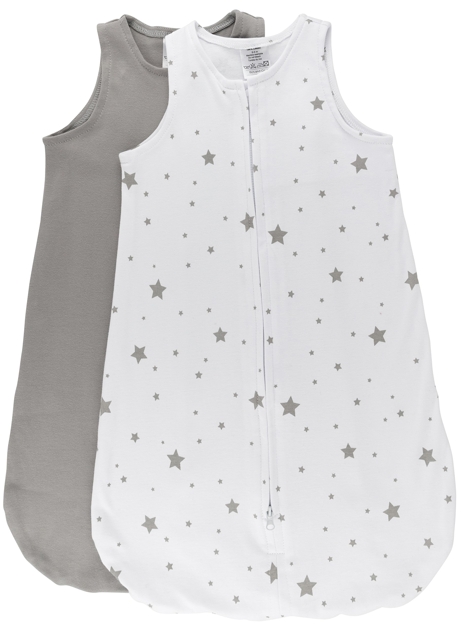 100% Cotton Wearable Blanket Baby Sleep Bag 2 Pack Grey Stars 3-6 Months