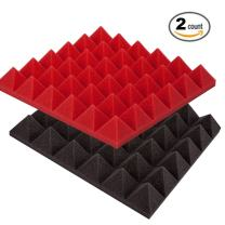 """Foamily 2 Pack - Red/Charcoal Acoustic Foam Sound Absorption Pyramid Studio Treatment Wall Panels, 2"""" X 12"""" X 12"""""""