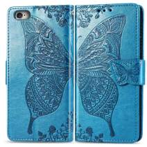 Ropigo iPhone 6 Plus Case | iPhone 6S Plus Wallet Case | Emboss Butterfly | Magnetic Closure | Kickstand | Wrist Strap | Compatible with Apple iPhone 6 Plus/iPhone 6S Plus Sky Blue