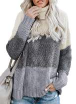 Lovezesent Womens Color Block High Neck Ribbed Knit Oversized Pullover Sweaters