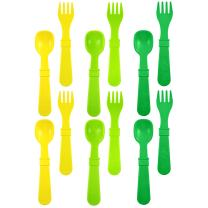 RE-PLAY Made in The USA 12pk Fork and Spoon Utensil Set for Easy Baby, Toddler, and Child Feeding in Yellow, Lime and Kelly Green | Made from Eco Friendly Heavyweight Recycled Milk Jugs | (Stem)