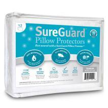 Set of 2 Travel Size SureGuard Pillow Protectors - 100% Waterproof, Bed Bug Proof, Hypoallergenic - Premium Zippered Cotton Terry Covers - 10 Year Warranty