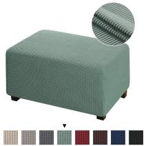 Ottoman Cover Storage Stool Furniture Protector Removable Footstool Protect Footrest Covers Rectangle Footstool Sofa Cover for Living Room Machine Washable Spandex Ottoman Covers,Standard, Sage