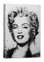 LightFairy Glow in the Dark Canvas Painting - Stretched and Framed Giclee Wall Art Print - Marilyn Monroe Black White - Master Bedroom Living Room Decor - 23.6 x 35.4 inch