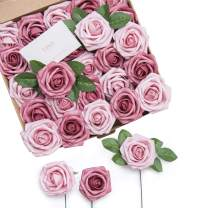 Ling's moment Roses Artificial Flowers 25pcs Dual Palette Blushing Pressed Rose with Stem for DIY Wedding Flower Arrangements Centerpieces Bouquets Party Decorations