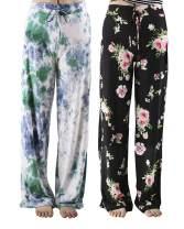 CAMPSNAIL Women's Cotton Comfy Casual Pajama Pants Floral Print Drawstring Wide Leg Lounge Pants Stretch Palazzo Sleepwear
