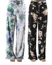 CAMPSNAIL Soft Postpartum Pajama Pants for Women - Comfy Casual Maternity Floral Print Lounge Sweatpants Women's Wide Leg Pjs