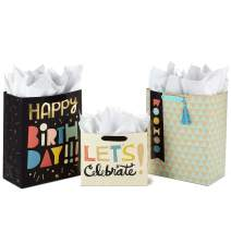 """Hallmark Celebrate Gift Bags Assortment with Tissue Paper (Pack of 3: 2 Large 13"""" and 1 Medium 7"""" Gift Bags for Birthdays, Baby Showers and More)"""