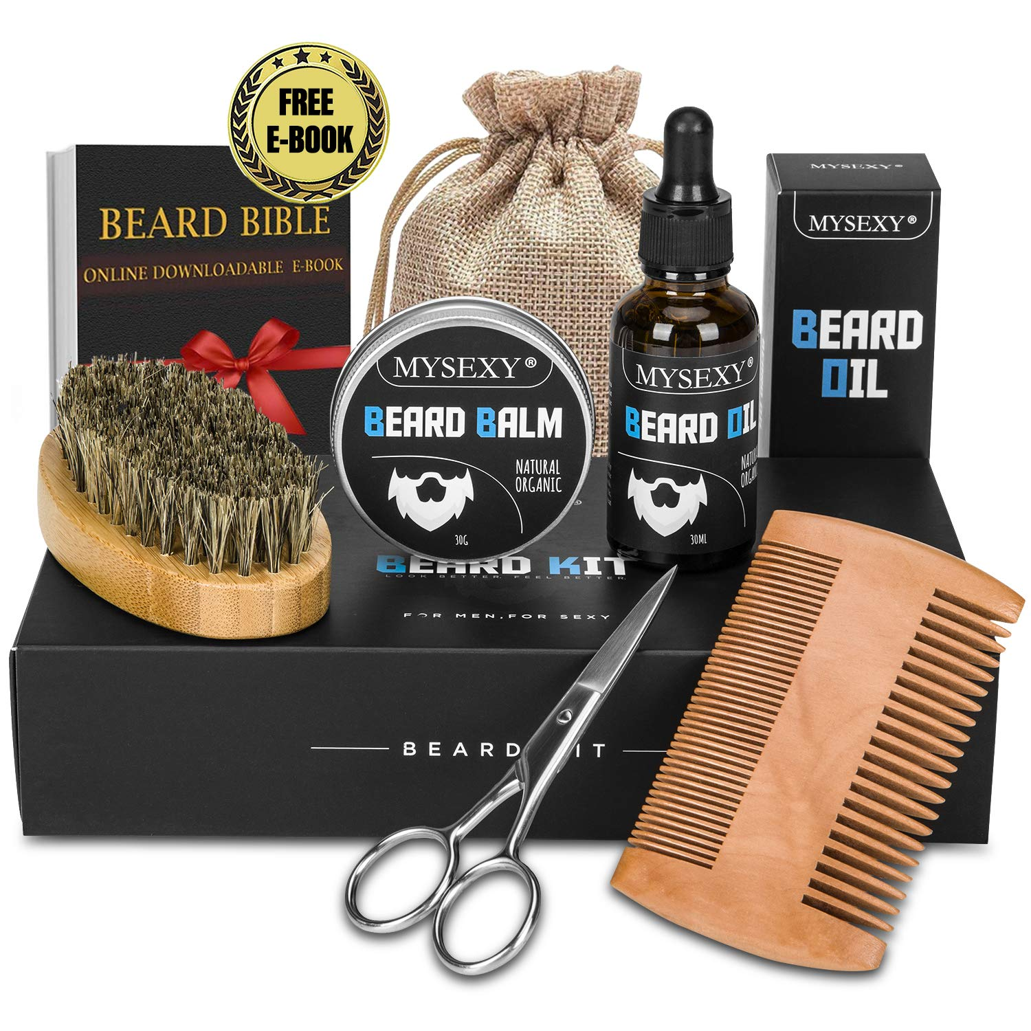 Beard Grooming Kit for Men,MYSEXY Ultimate Beard Care Kit with 100% Natural Unscented Leave-in Beard Oil, Beard Balm, Boar Beard Brush, Wood Comb & Mustache Scissors, Perfect Gift for Men