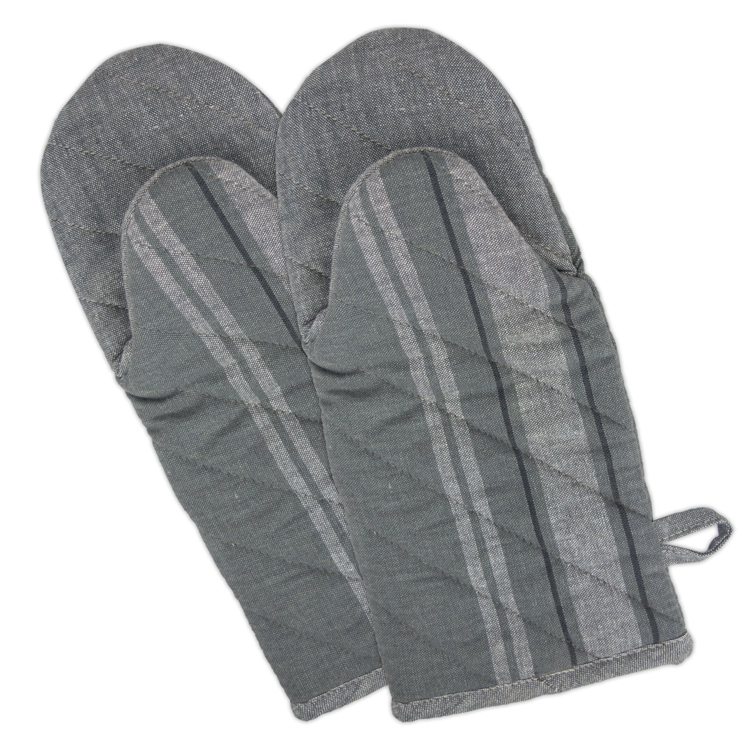 """DII Cotton French Stripe Oven Mitt, 13x6"""" Set of 2, Machine Washable and Heat Resistant Country Farmhouse Cooking and Baking Glove-Chambray Gray"""