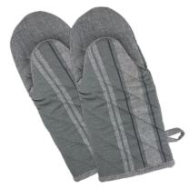 "DII Cotton French Stripe Oven Mitt, 13x6"" Set of 2, Machine Washable and Heat Resistant Country Farmhouse Cooking and Baking Glove-Chambray Gray"