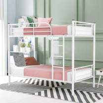 Merax, White Twin Metal Bunk, Can be Divided into Two Beds,No Box Spring Needed