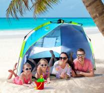 Nacuwa Beach Tent Shade Easy Setup, 2-3 Person Portable Sun Shelter Pop Up with UV Protection UPF 50+ for Kids, Anti UV for Fishing Hiking Camping Holidays, Water Resistant with Carrying Bag, Blue