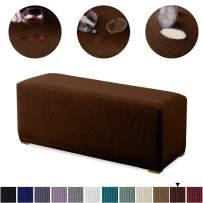 Granbest Premium Water Repellent Ottoman Cover High Stretch Rectangle Folding Storage Stool Ottoman Slipcovers (Ottoman Standard, Chocolate)