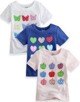 Vaenait Baby 3 Pack 12M-5T Girls Short Sleeve T shirts Embroidery Girlish Tee