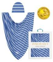 Posh Peanut Baby Boy Swaddle Blanket - Large Premium Knit Viscose from Bamboo - Infant Swaddle Wrap, Receiving Blanket and Beanie Set, Baby Shower Newborn Gift, Registry - Denim Blue Stripe